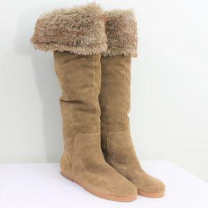 New Sam Edelman Suede Knee High Tan Boot Shoe 8.5